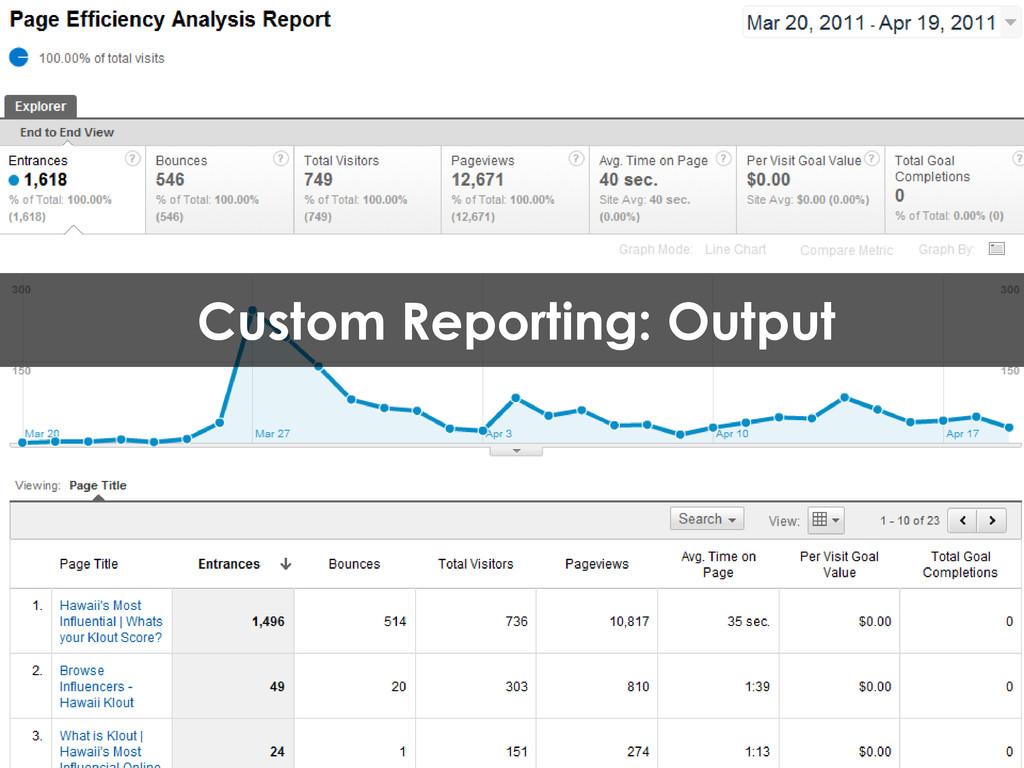 Custom Reporting: Output