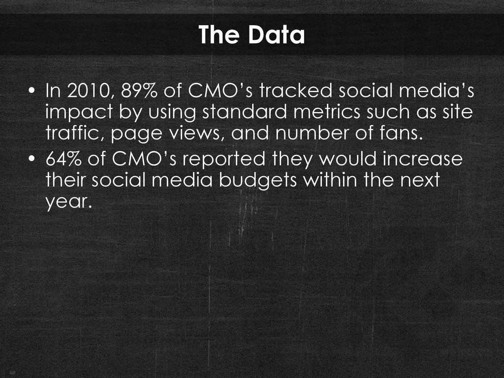 """The Data • In 2010, 89% of CMO""""s tracked social..."""