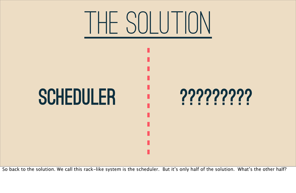 The Solution Scheduler ????????? So back to the...
