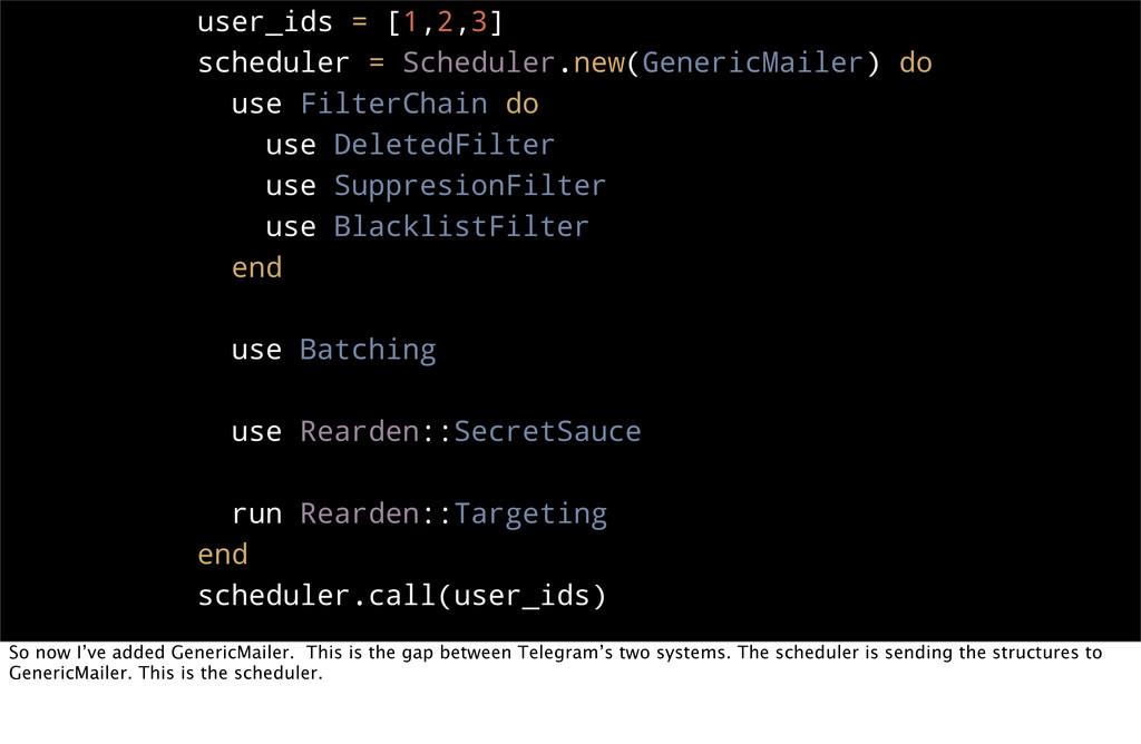 user_ids = [1,2,3] scheduler = Scheduler.new(Ge...