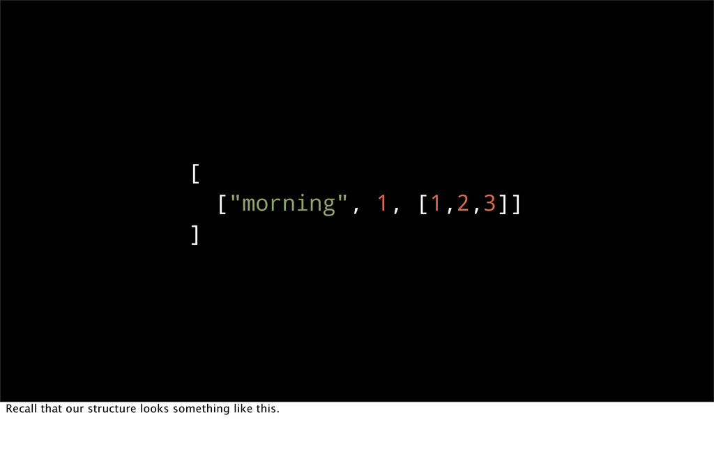 """[ [""""morning"""", 1, [1,2,3]] ] Recall that our str..."""
