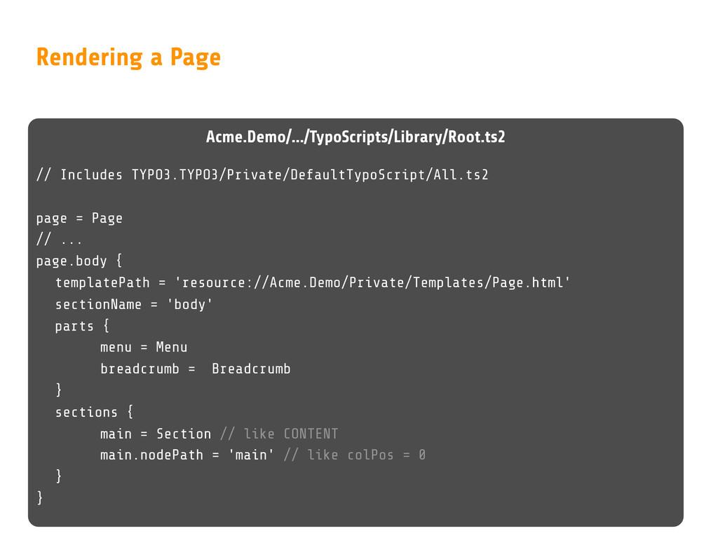 Rendering a Page Acme.Demo/.../TypoScripts/Libr...