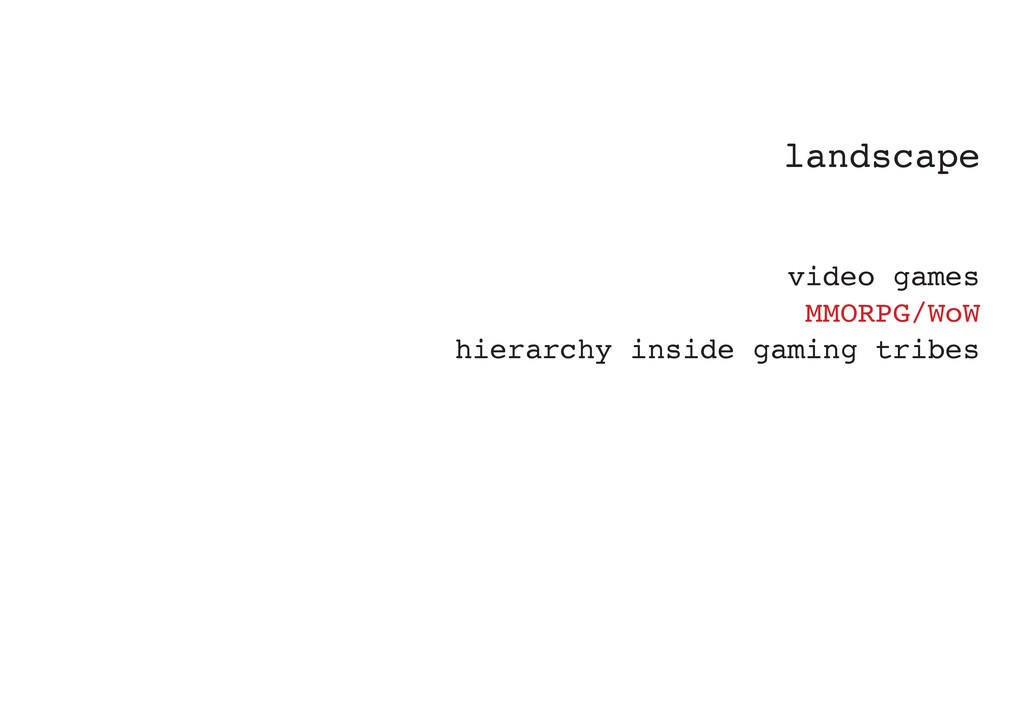landscape video games MMORPG/WoW hierarchy insi...