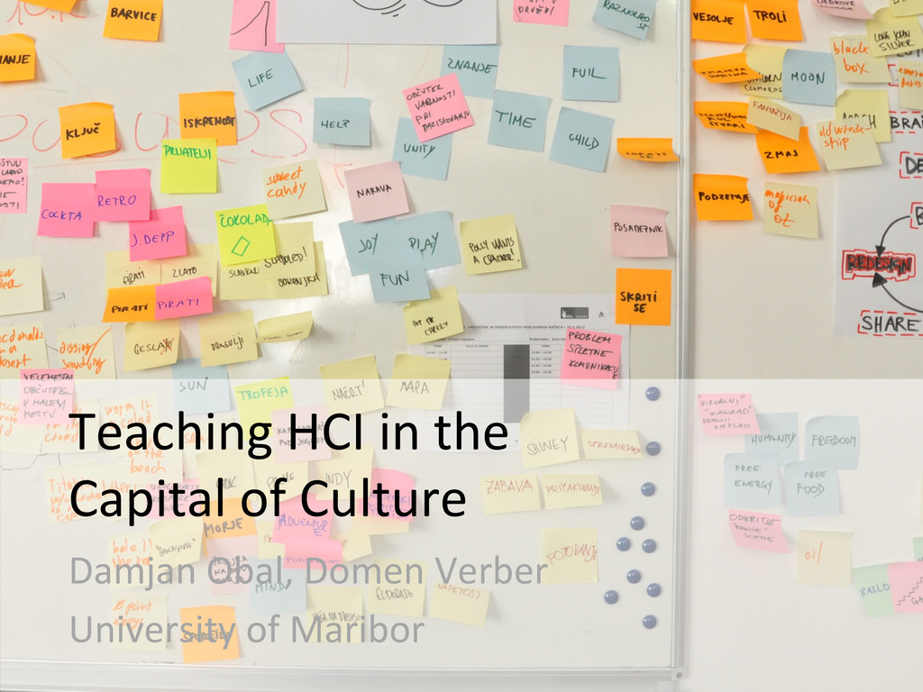 Teaching HCI in the   Capital ...