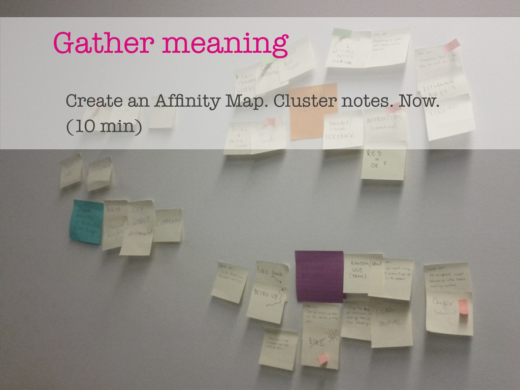 Gather meaning Create an Affinity Map. Cluster n...
