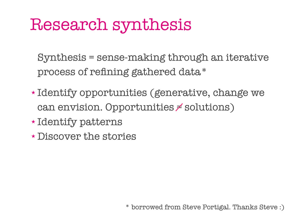 Research synthesis Synthesis = sense-making thr...