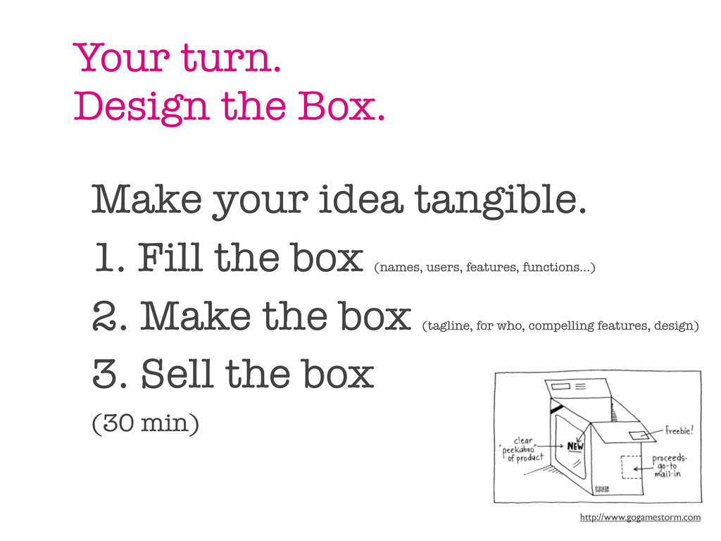 Your turn. Design the Box. Make your idea tangi...