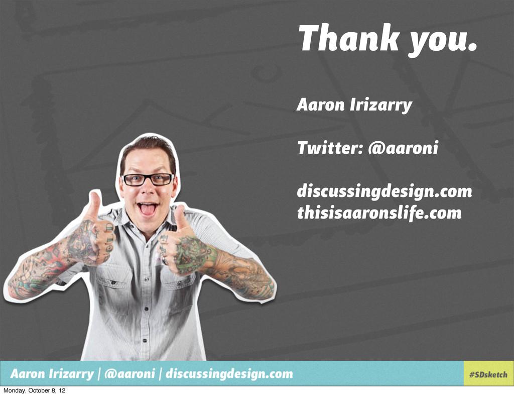 Thank you. Aaron Irizarry Twitter: @aaroni disc...