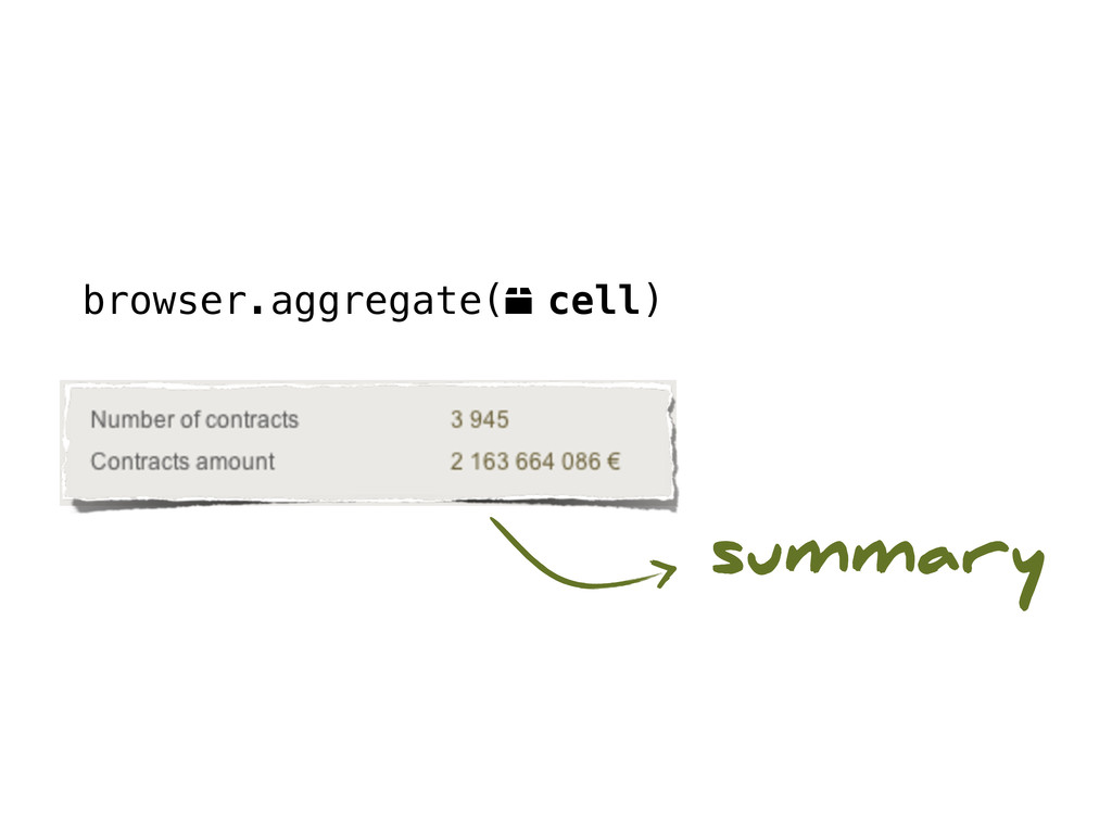 browser.aggregate(o cell) summary