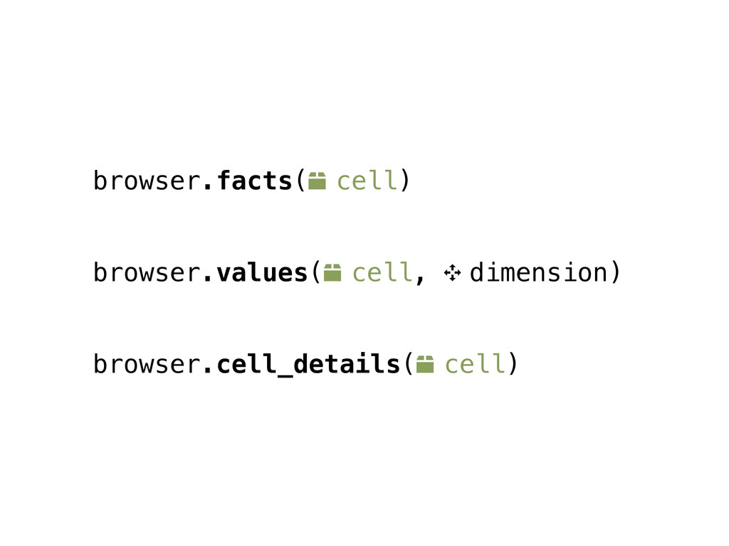 browser.facts(o cell) browser.values(o cell, 9 ...