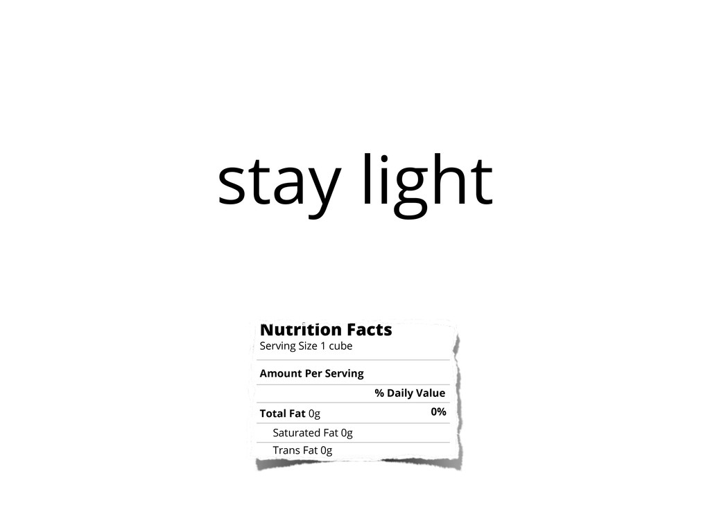 stay light Nutrition Facts Serving Size 1 cube ...