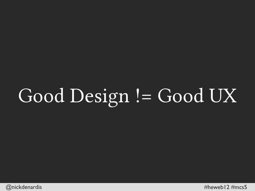 @nickdenardis #heweb12 #mcs5 Good Design != Goo...