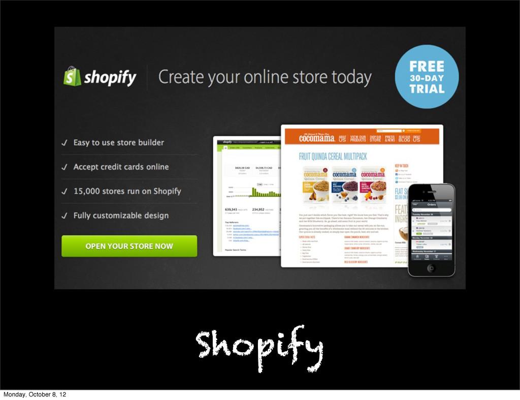 Shopify Monday, October 8, 12
