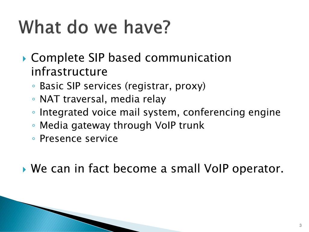 Complete SIP based communication infrastructu...