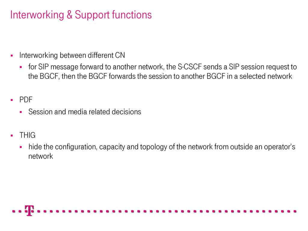 Interworking & Support functions § Interworki...