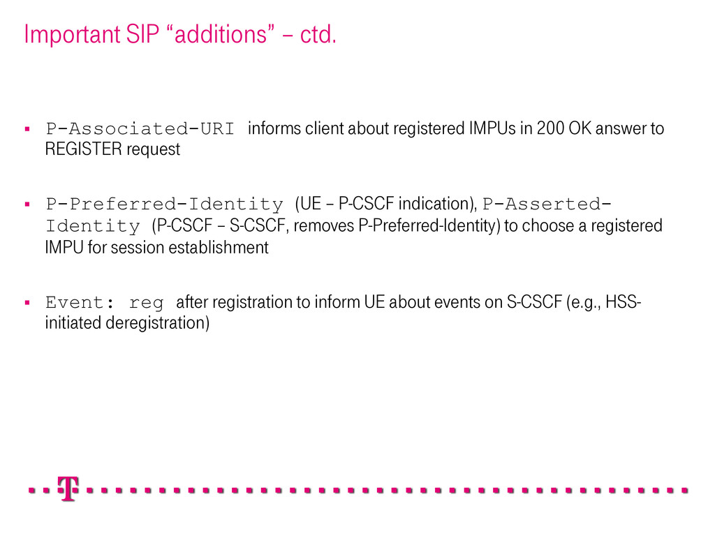 "Important SIP ""additions"" – ctd. § P-Associat..."