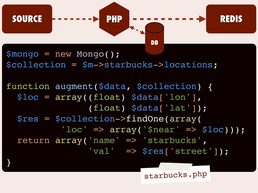 $mongo = new Mongo(); $collection = $m->starbuc...