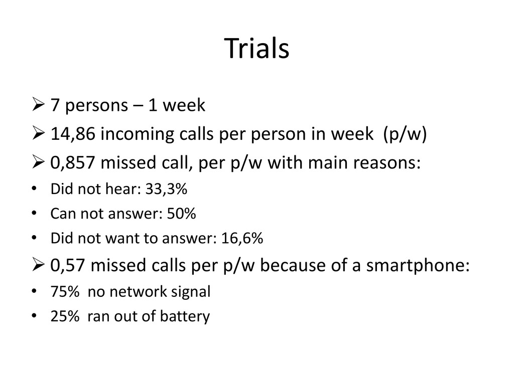 Trials  7 persons – 1 week  14,86 incoming ca...