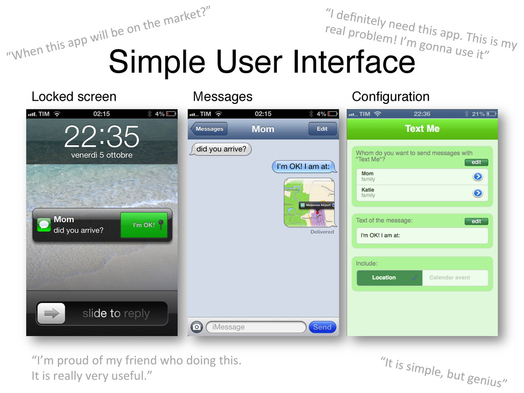 Simple User Interface! Locked screen! Messages!...