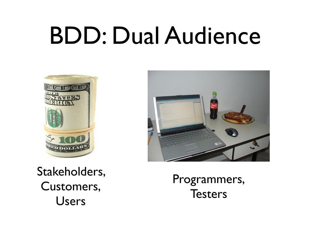 BDD: Dual Audience Stakeholders, Customers, Use...