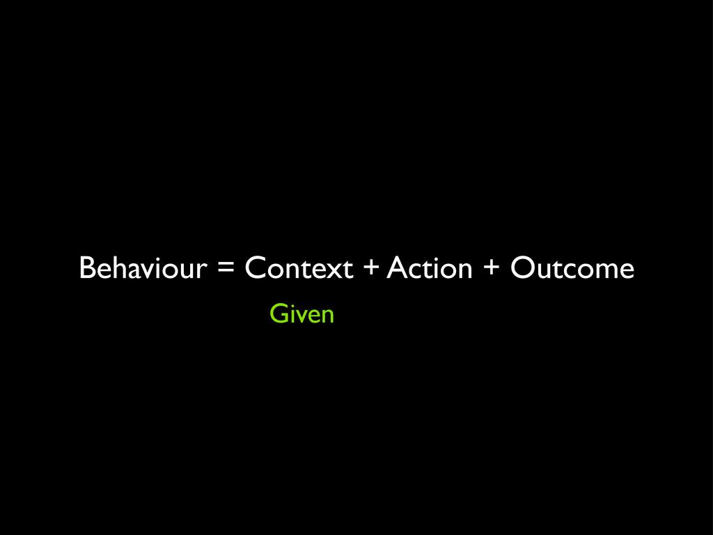 Behaviour = Context + Action + Outcome Given