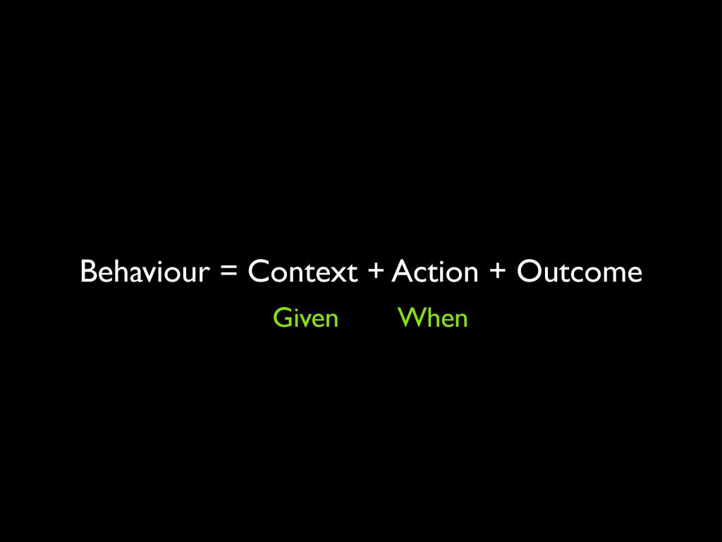 Behaviour = Context + Action + Outcome Given Wh...