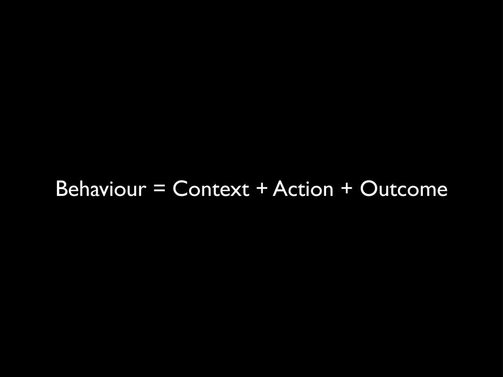 Behaviour = Context + Action + Outcome