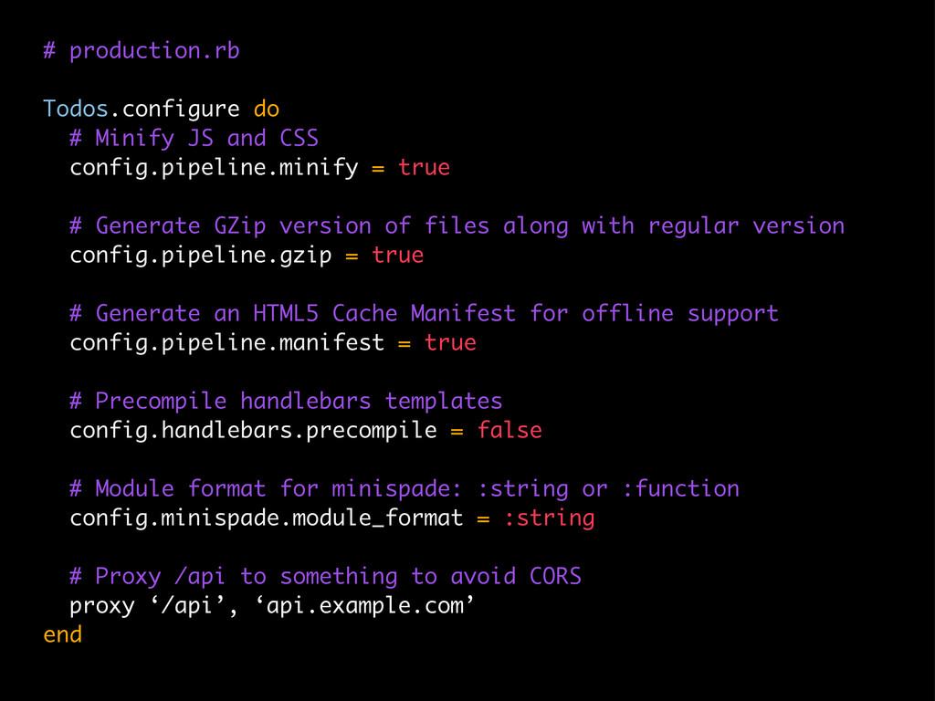 # production.rb Todos.configure do # Minify JS ...