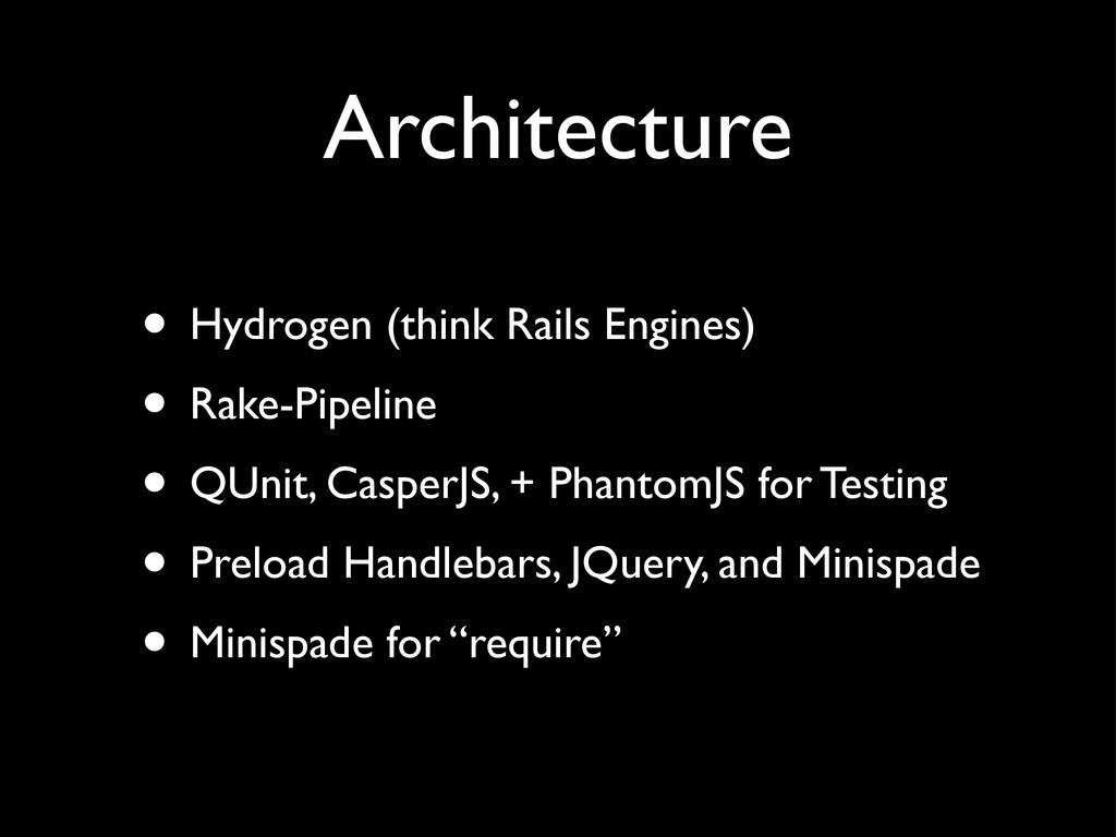 Architecture • Hydrogen (think Rails Engines) •...