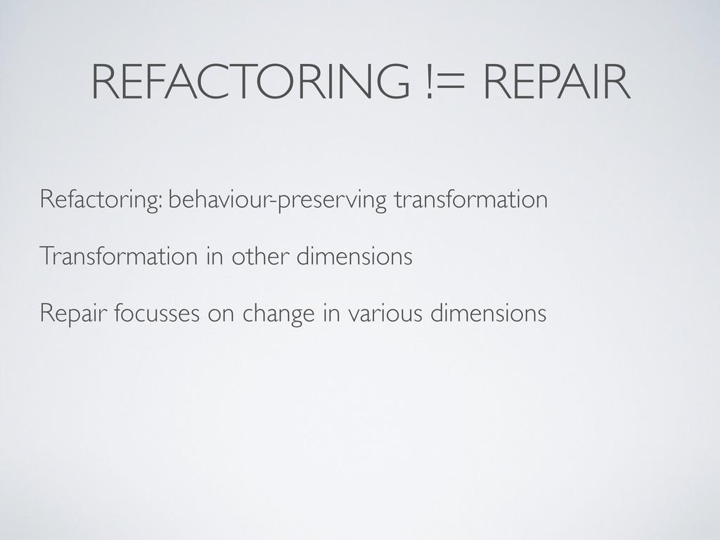 REFACTORING != REPAIR Refactoring: behaviour-pr...