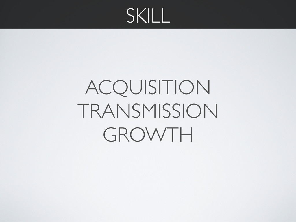 ACQUISITION TRANSMISSION GROWTH SKILL