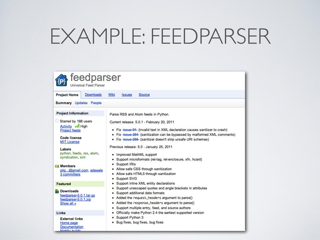 EXAMPLE: FEEDPARSER