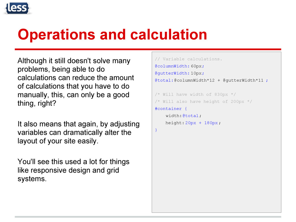 Operations and calculation Although it still do...