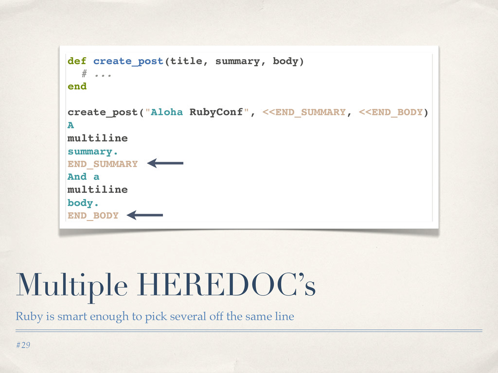 #29 Multiple HEREDOC's Ruby is smart enough to ...