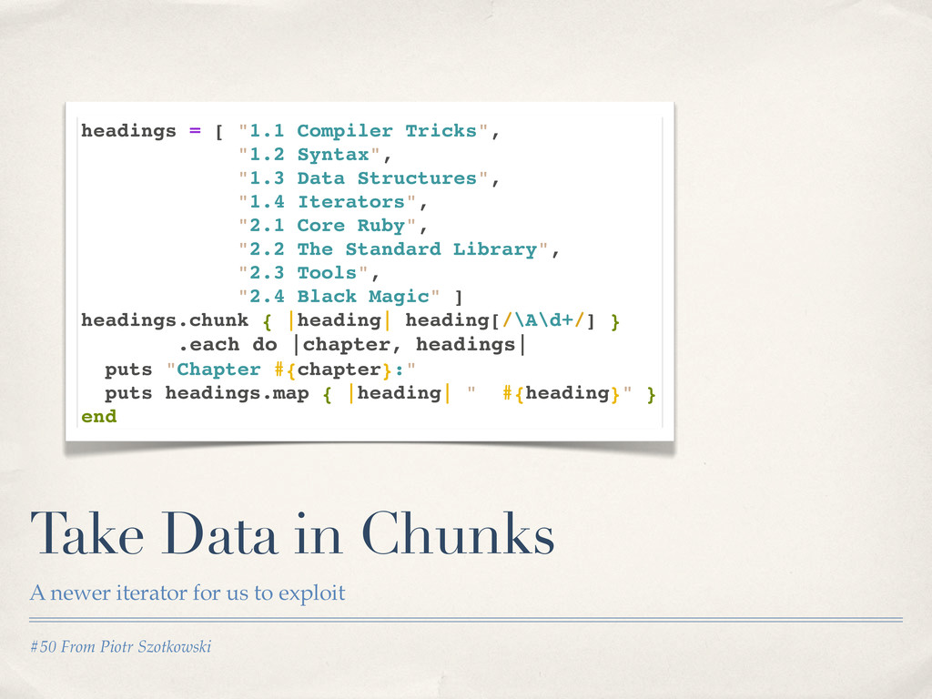 #50 From Piotr Szotkowski Take Data in Chunks A...