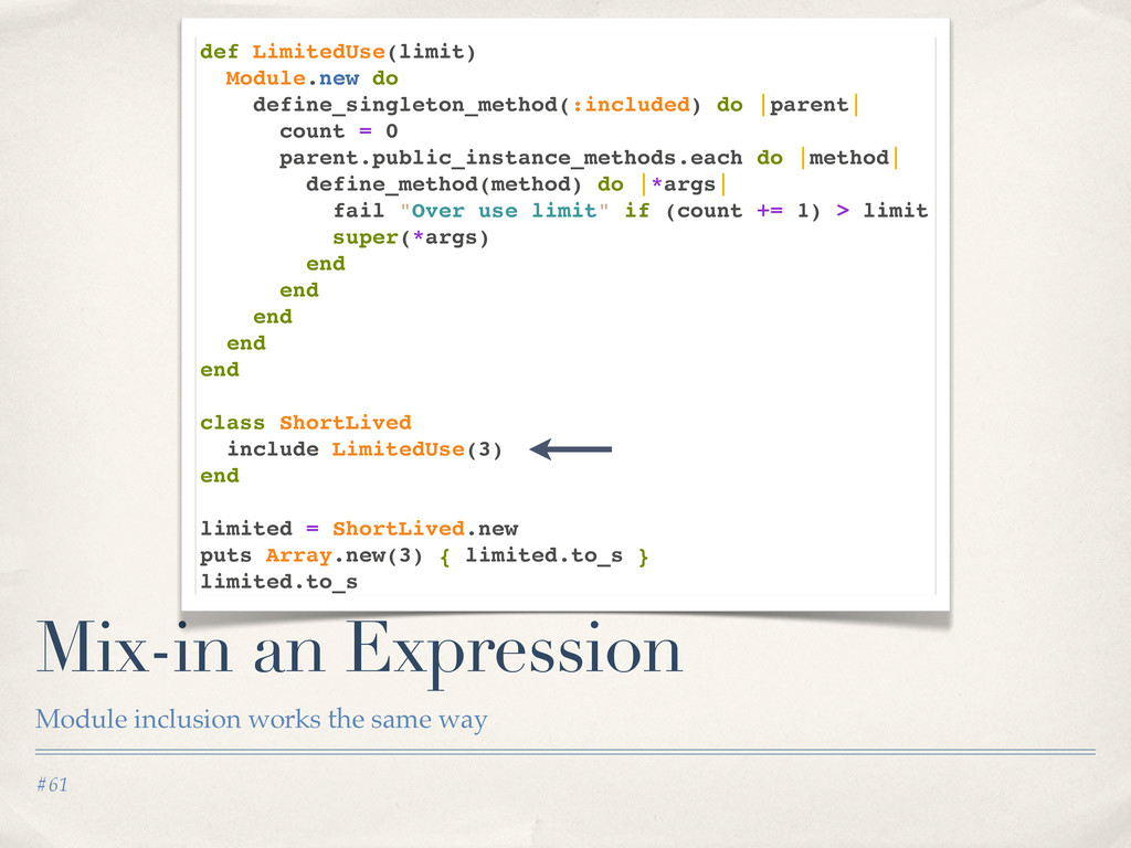 #61 Mix-in an Expression Module inclusion works...