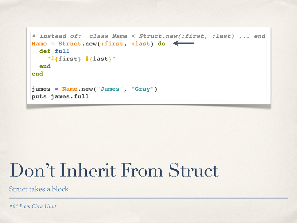 #64 From Chris Hunt Don't Inherit From Struct S...