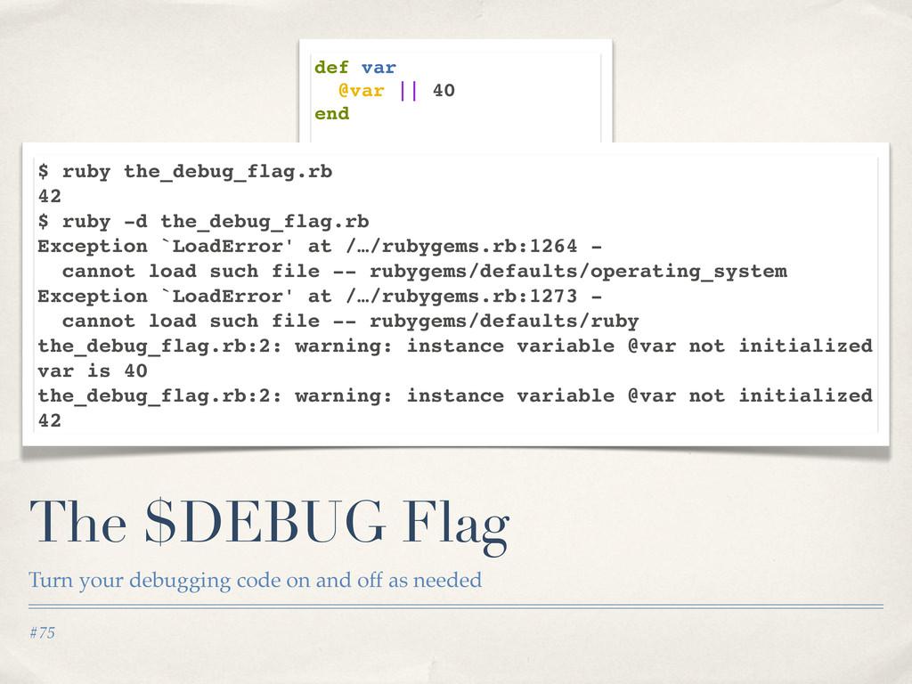 #75 The $DEBUG Flag Turn your debugging code on...