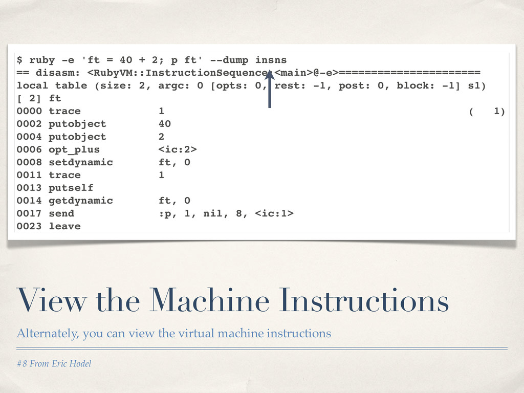 #8 From Eric Hodel View the Machine Instruction...