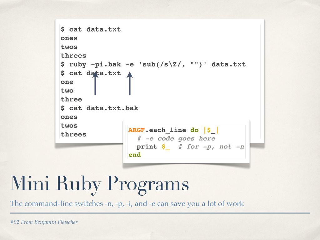 #92 From Benjamin Fleischer Mini Ruby Programs ...