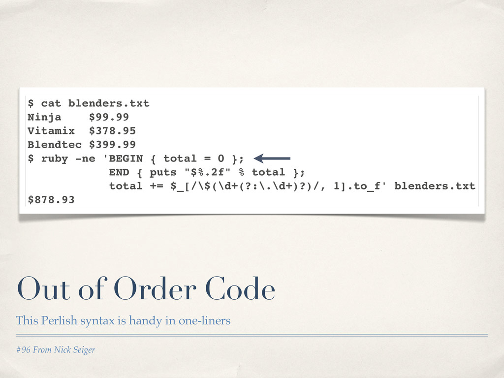 #96 From Nick Seiger Out of Order Code This Per...