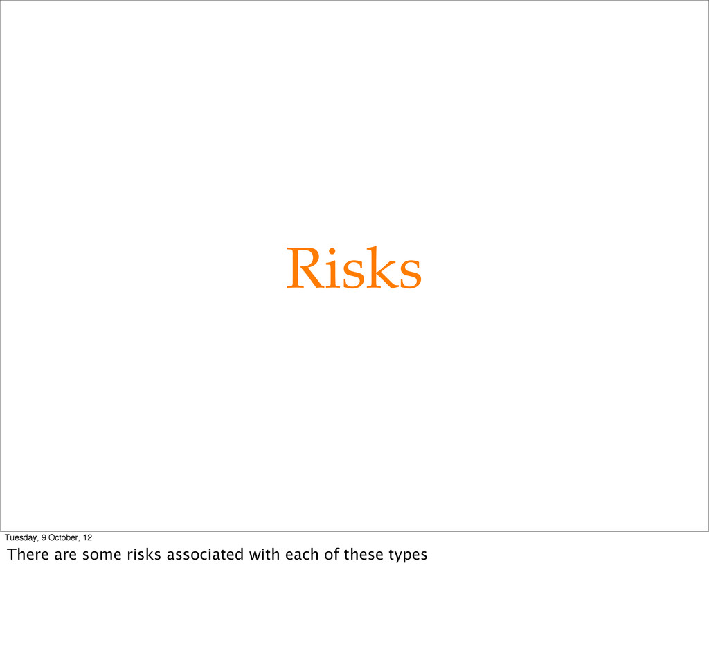 Risks Tuesday, 9 October, 12 There are some ris...