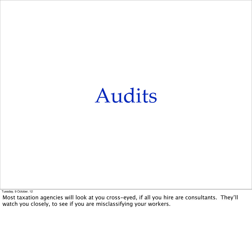 Audits Tuesday, 9 October, 12 Most taxation age...