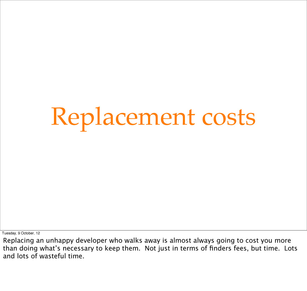 Replacement costs Tuesday, 9 October, 12 Replac...