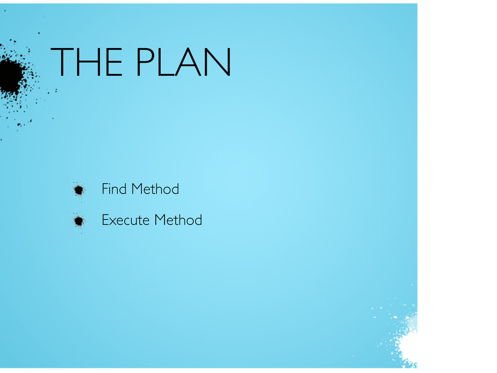 THE PLAN Find Method Execute Method