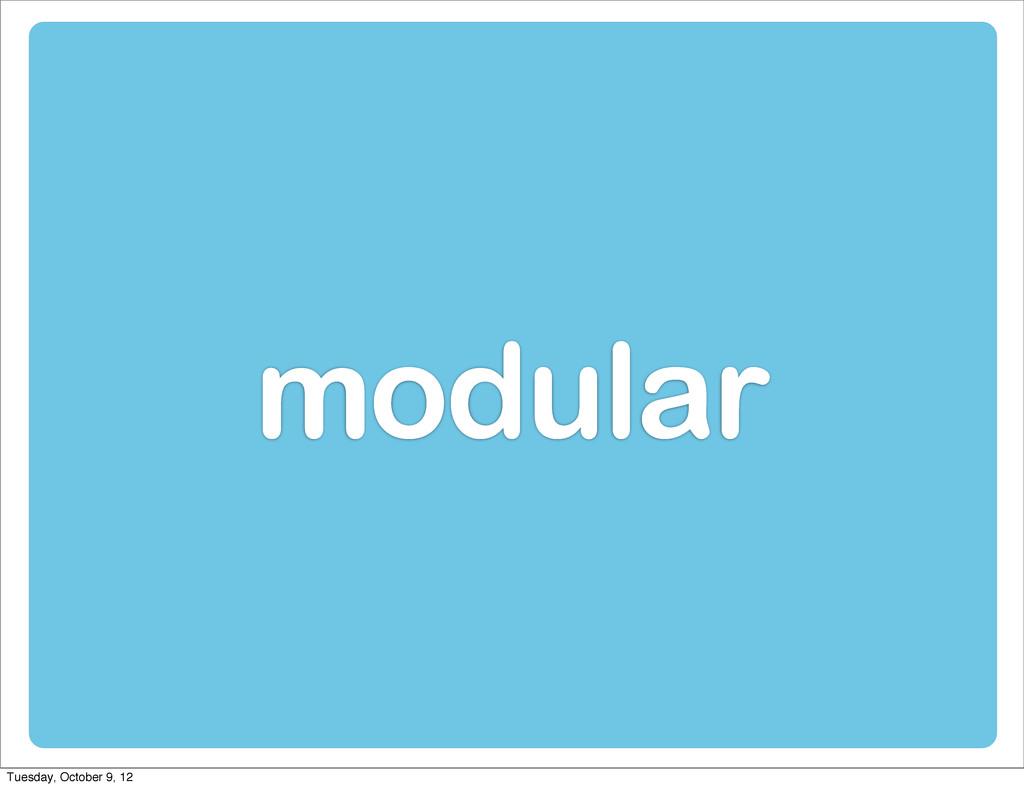 modular Tuesday, October 9, 12