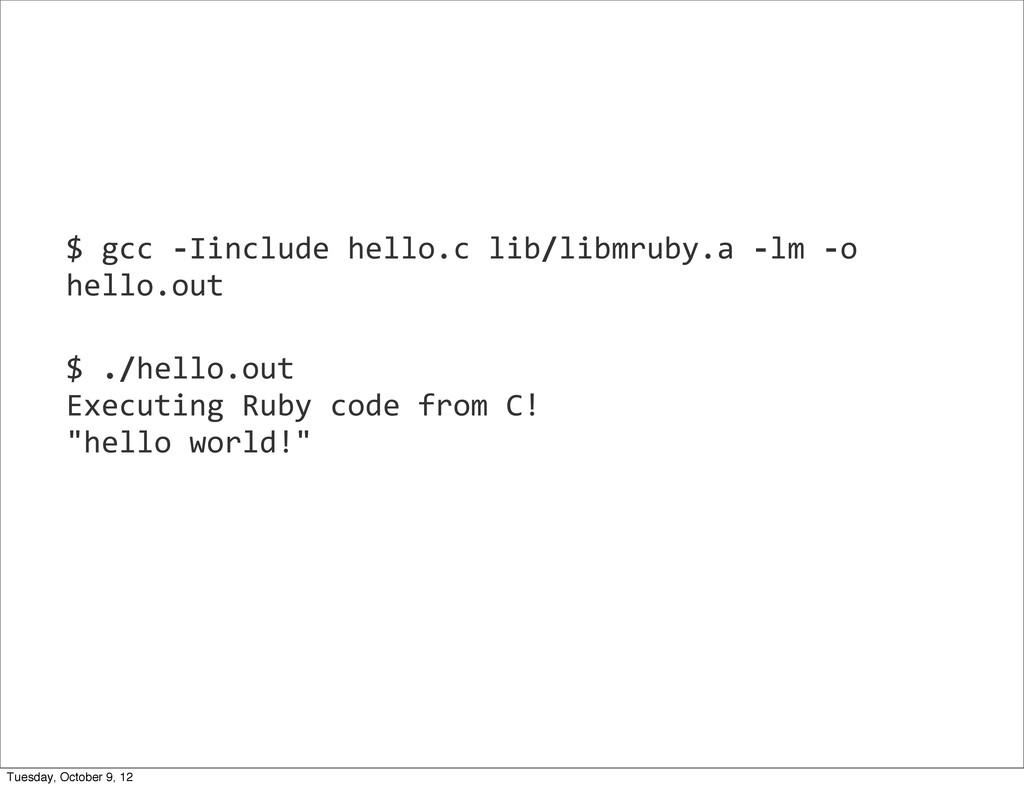 2012 $ gcc -‐Iinclude hello.c lib/...