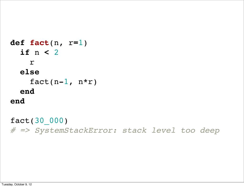 def fact(n, r=1) if n < 2 r else fact(n-1, n*r)...