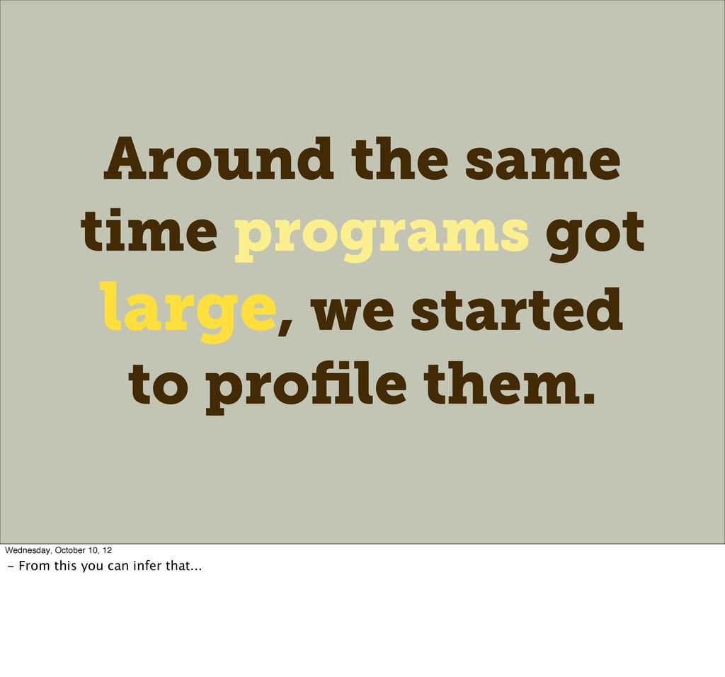 Around the same time programs got large, we sta...