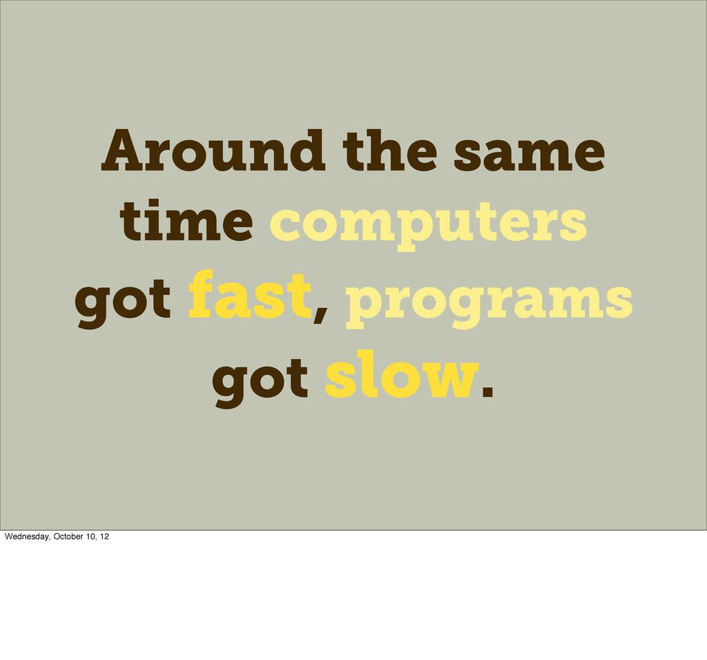 Around the same time computers got fast, progra...